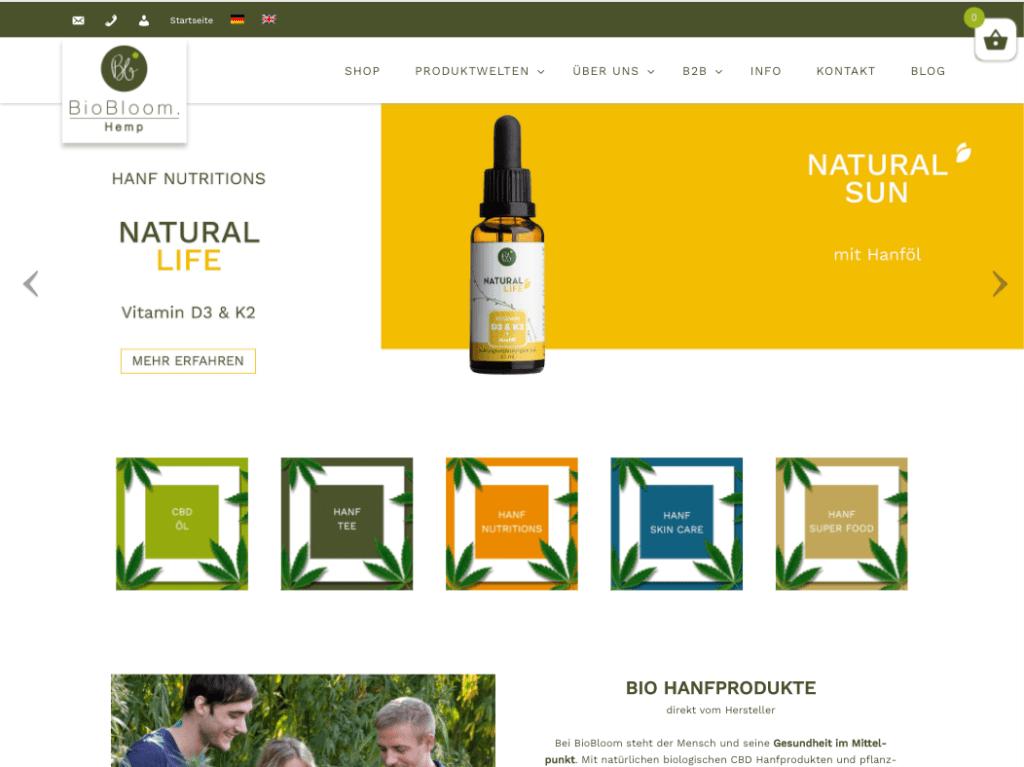 Screenshot des Shops von BioBloom