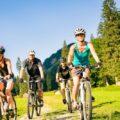gruppe-fahrradfahrer-im-wald