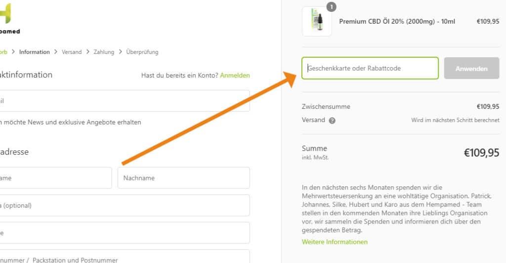 Hempamed Gutschein Anwendung, Screenshot aus dem Onlineshop