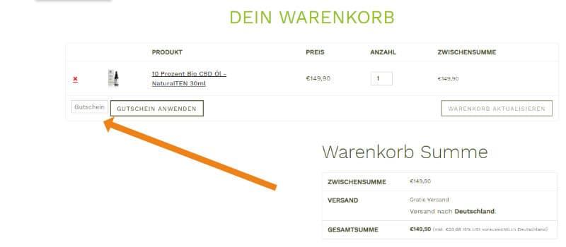 Screenshot des Warenkorbs von BioBloom