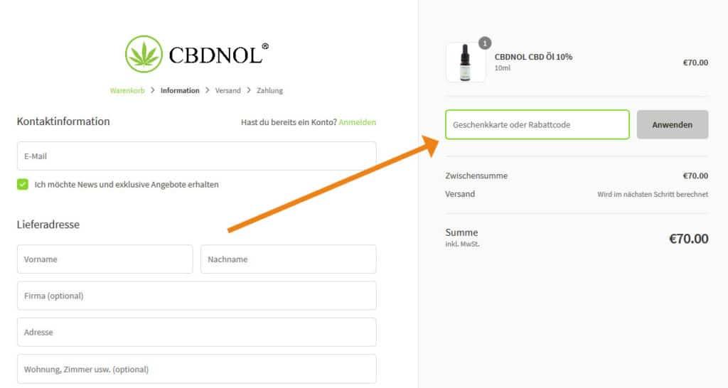 CBDNOL Gutschein Anwendung Screenshot aus dem Onlineshop