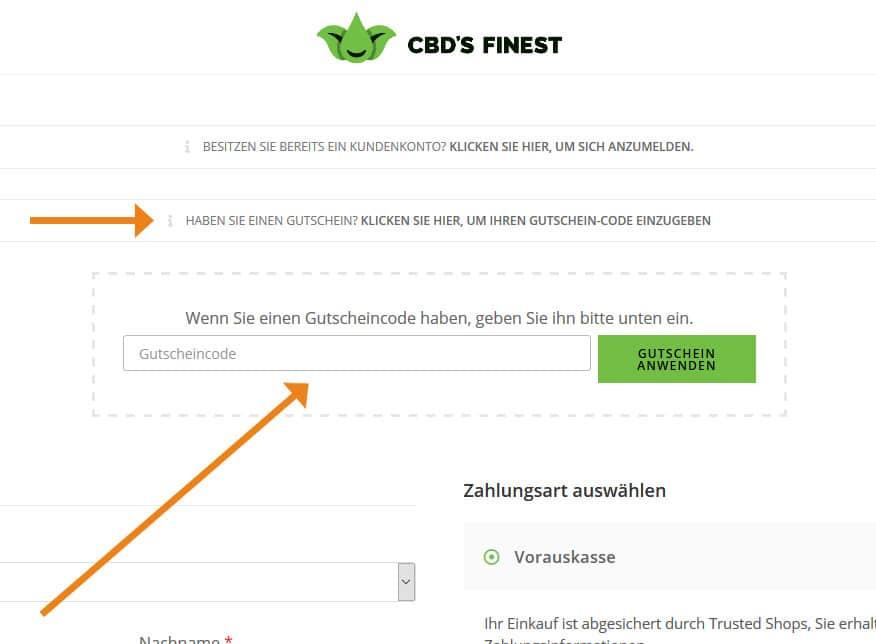 CBD's Finest Gutschein Anwendung Screenshot Onlineshop