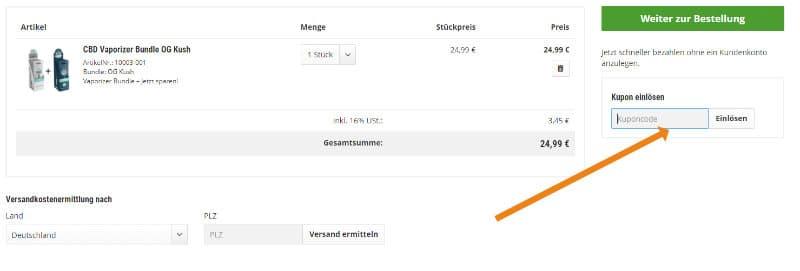 Screenshot des Warenkorbs von CBDShop24 inklusive Gutscheincode