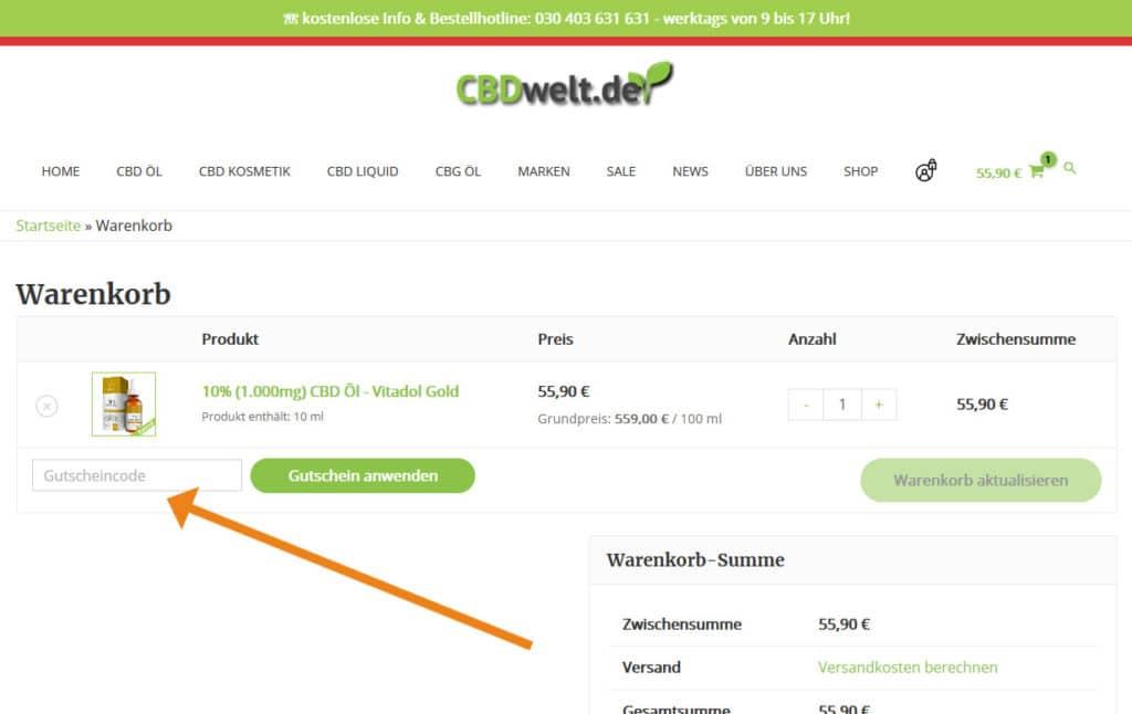 CBDWelt Gutschein Anwendung Screenshot Onlineshop