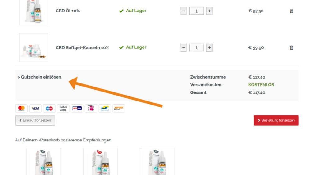 Cibdol Gutschein Anwendung Screenshot Onlineshop