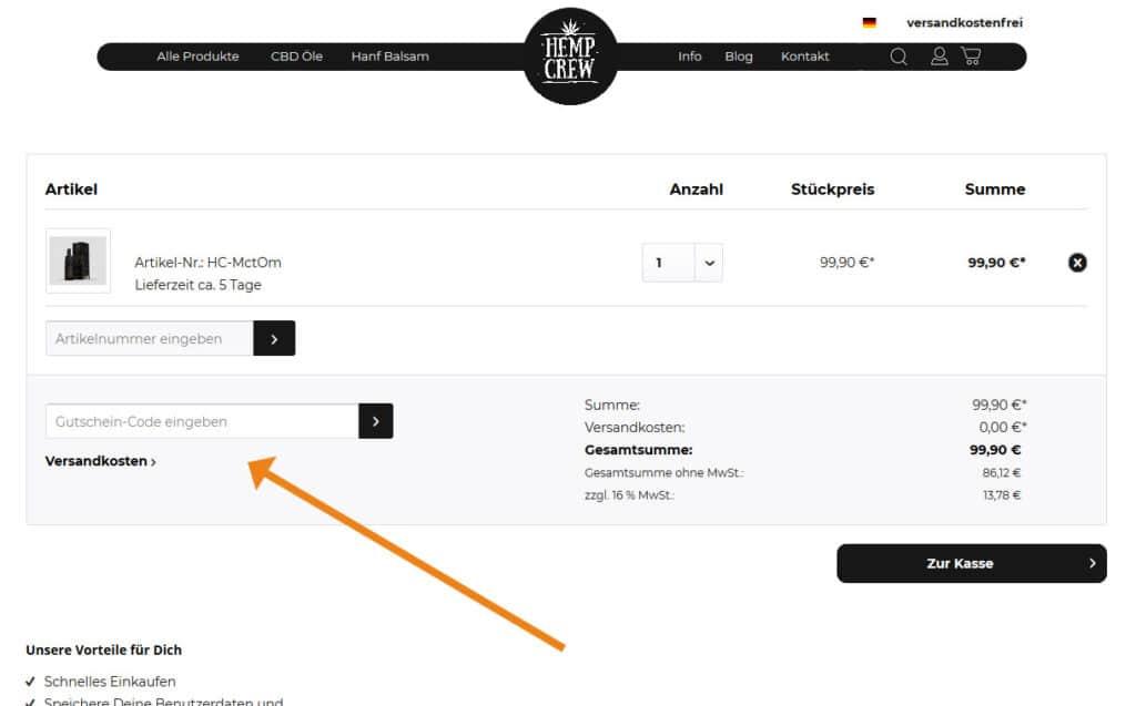 HempCrew Gutschein Anwendung Screenshot Onlineshop