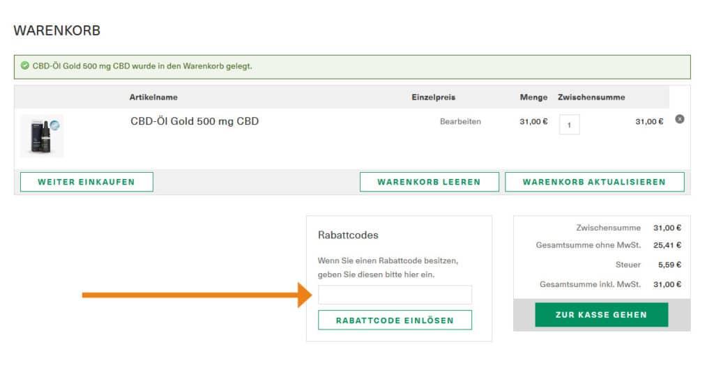 Hemptouch Gutschein Anwendung Screenshot Onlineshop