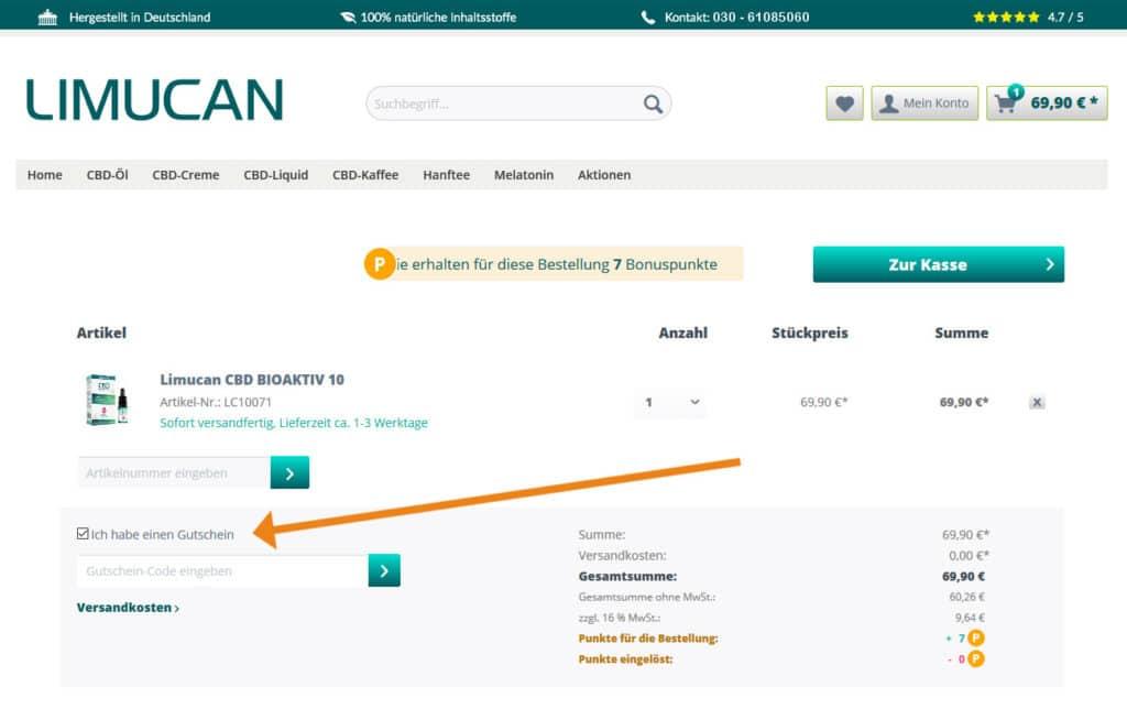 Limucan Gutschein Anwendung Screenshot Onlineshop