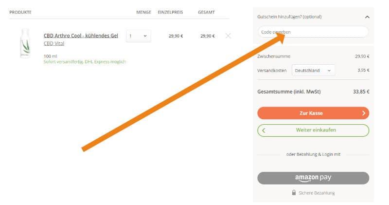 Screenshot des Warenkorbs von myFairtrade mit Gutschein