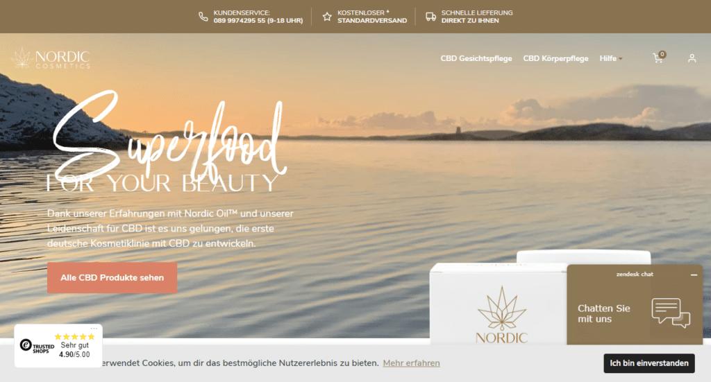 Screenshot der Webseite von nordiccosmetics.de