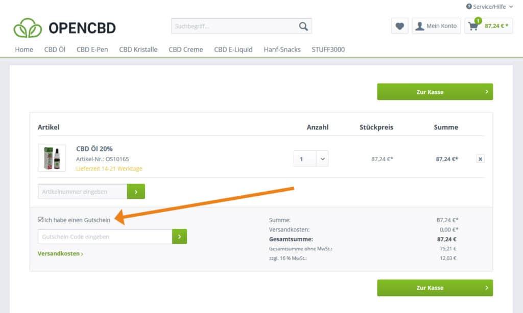 OpenCBD Gutschein Anwendung Screenshot Onlineshop