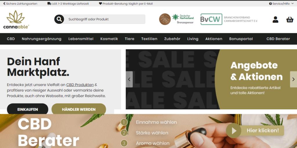 Die Hauptseite von cannaable.de