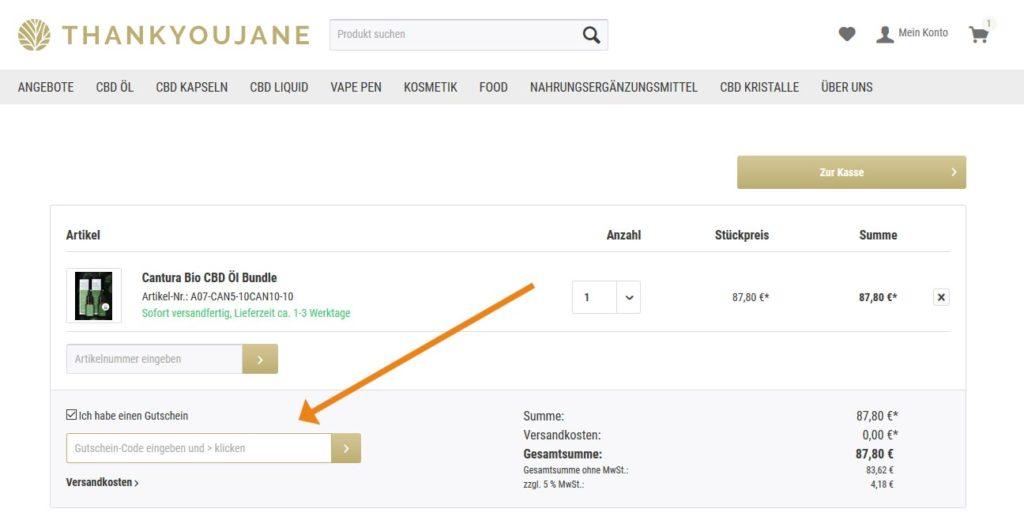Thankyoujane Gutschein Anwendung Screenshot Onlineshop