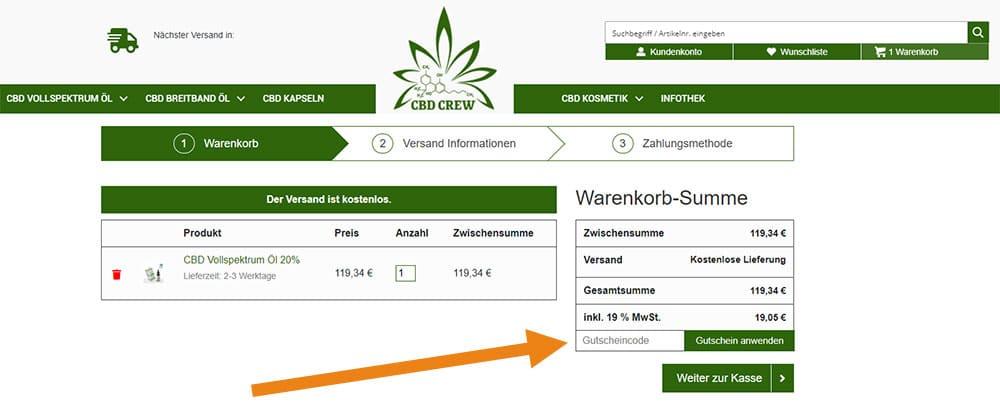 CBD Crew Gutschein Anwendung Screenshot Onlineshop