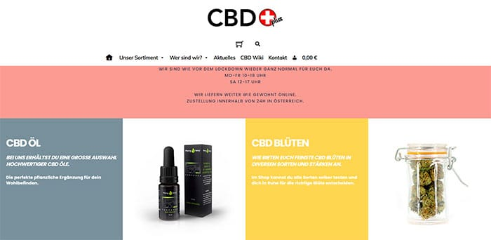 CBDplus Screenshot Onlineshop